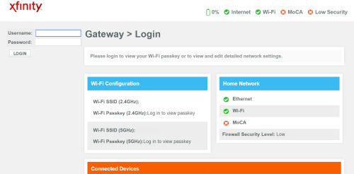 small resolution of xfinity home gateway login page screenshot