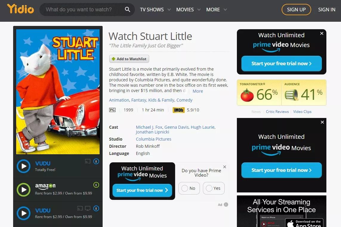 Screenshot of the free movie Stuart Little on Yidio