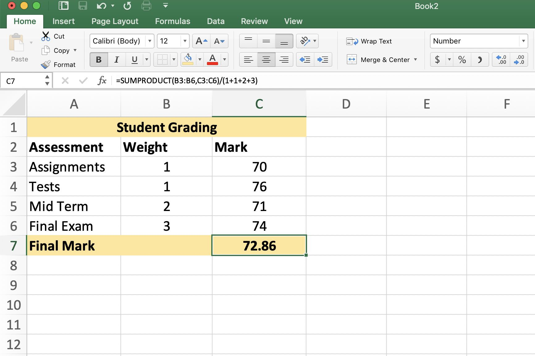 How To Calculate Weighted Averages In Excel With Sumproduct