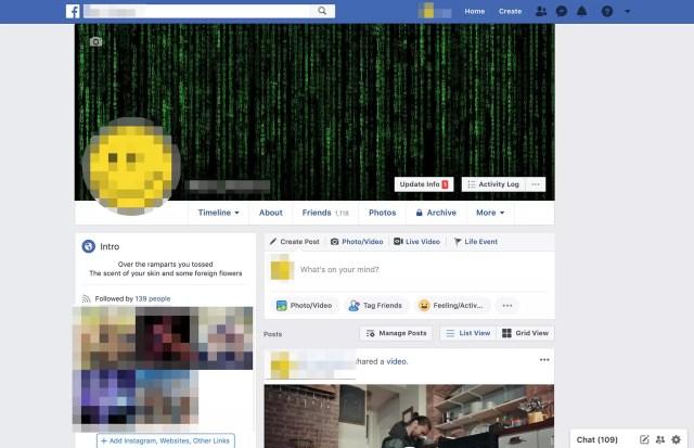 Page de profil Facebook