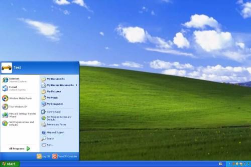 Screenshot of the Windows XP Start Menu and desktop