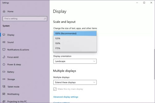 Windows 10 Scale and layout settings