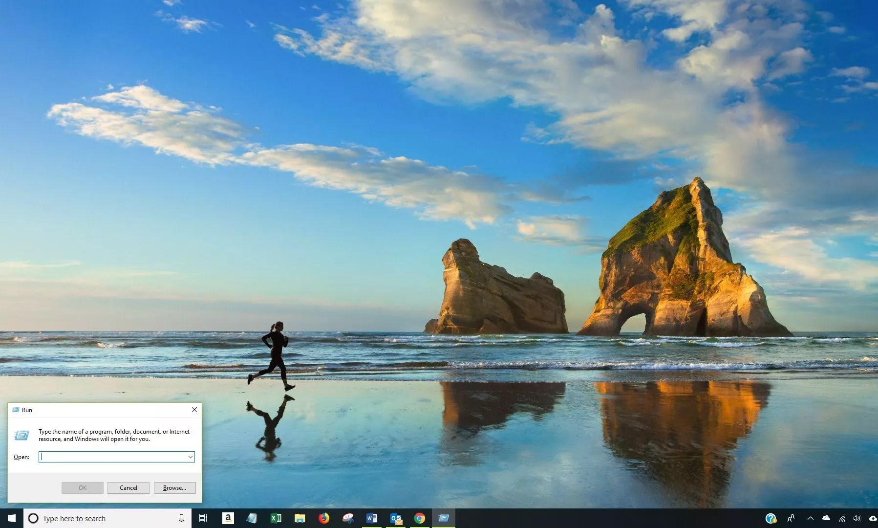 Screenshot showing Run dialog in Windows 10