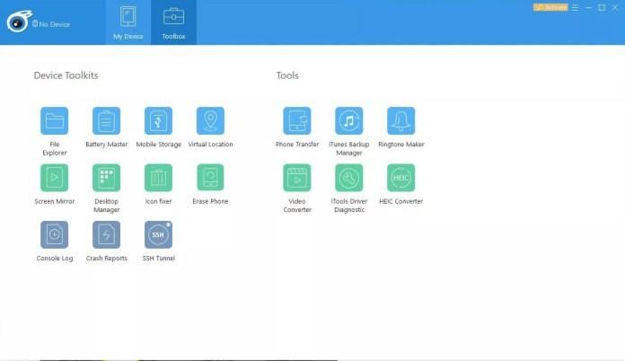 The iTools toolbox.
