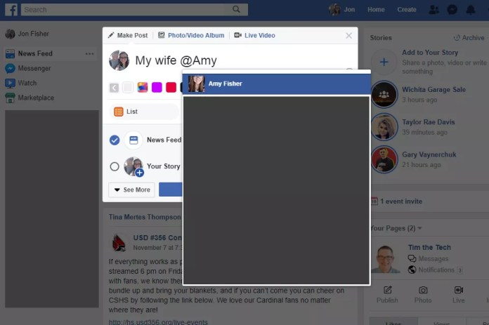 Screenshot showing how to tag a friend in a Facebook post