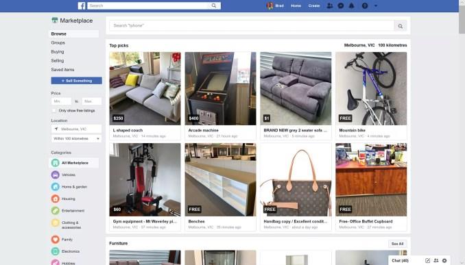 Facebook Marketplace on the Facebook website.