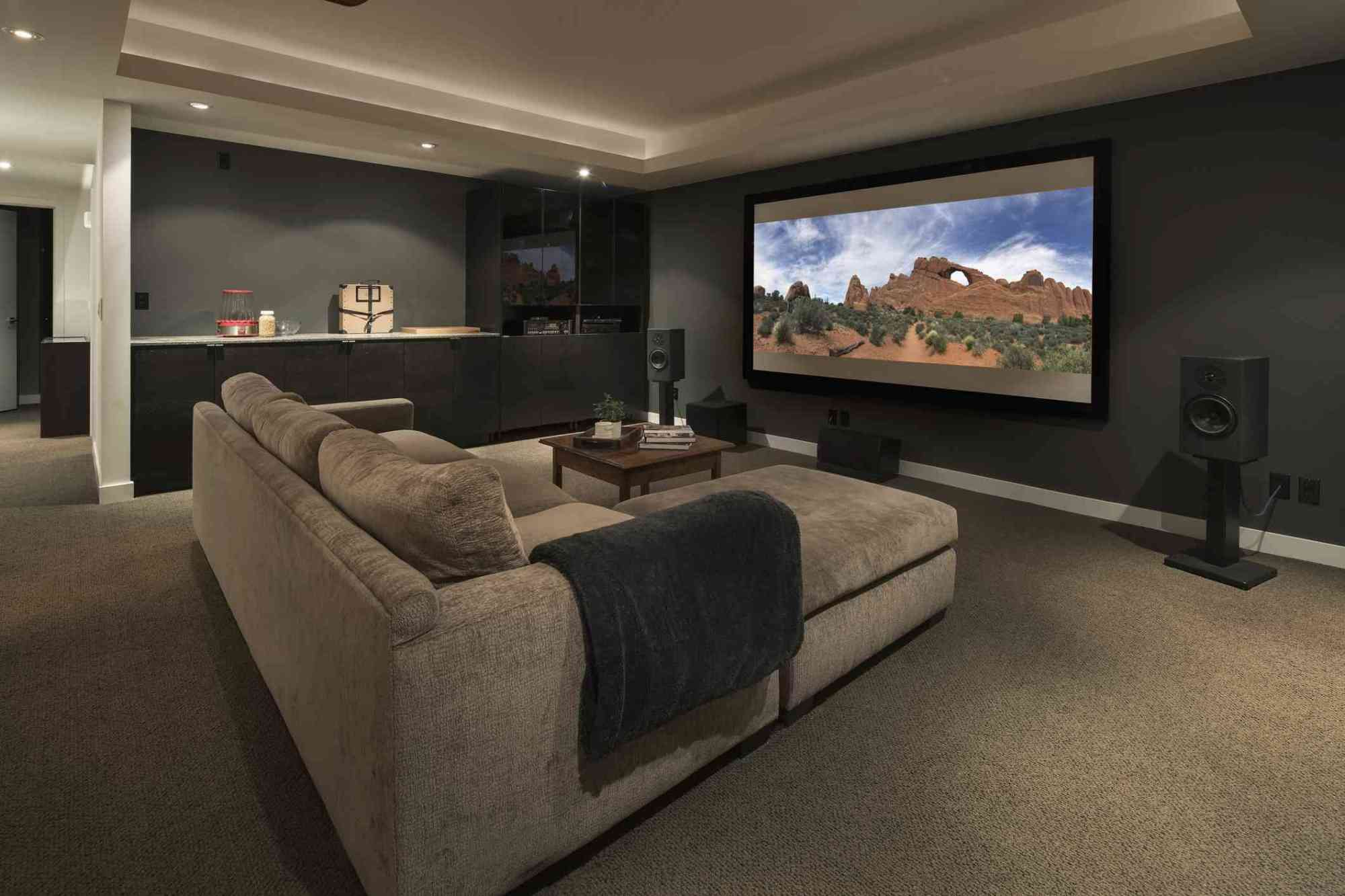 hight resolution of movie playing on projection screen in home theater