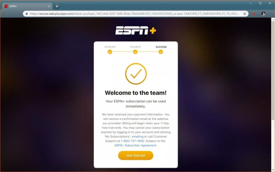 A screenshot of the completed ESPN+ sign up procedure.