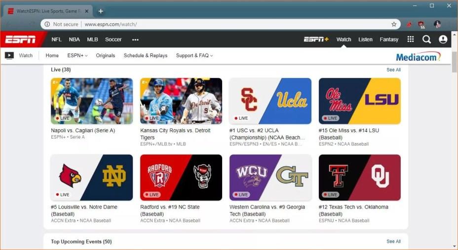 A screenshot of live content on ESPN+.