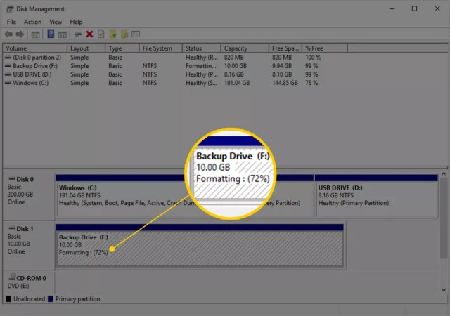Formatting: 72% in Disk Management