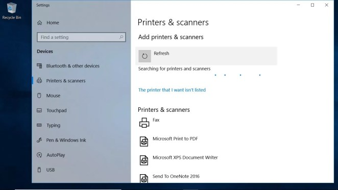 A screenshot of the Printers & scanners settings in Windows 10 that can't recognize a printer