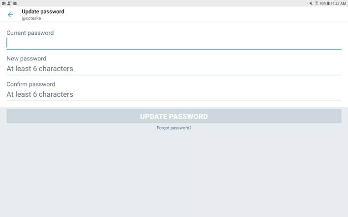 لقطة شاشة توضح كيفية تغيير كلمة المرور في تطبيق Twitter للجوال