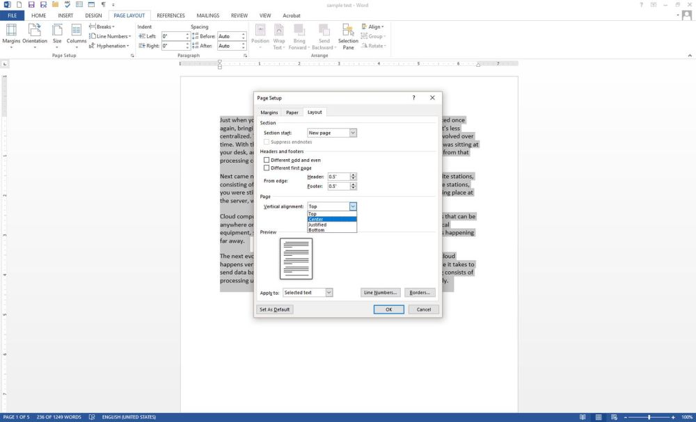 medium resolution of microsoft word with the page setup dialog box displayed