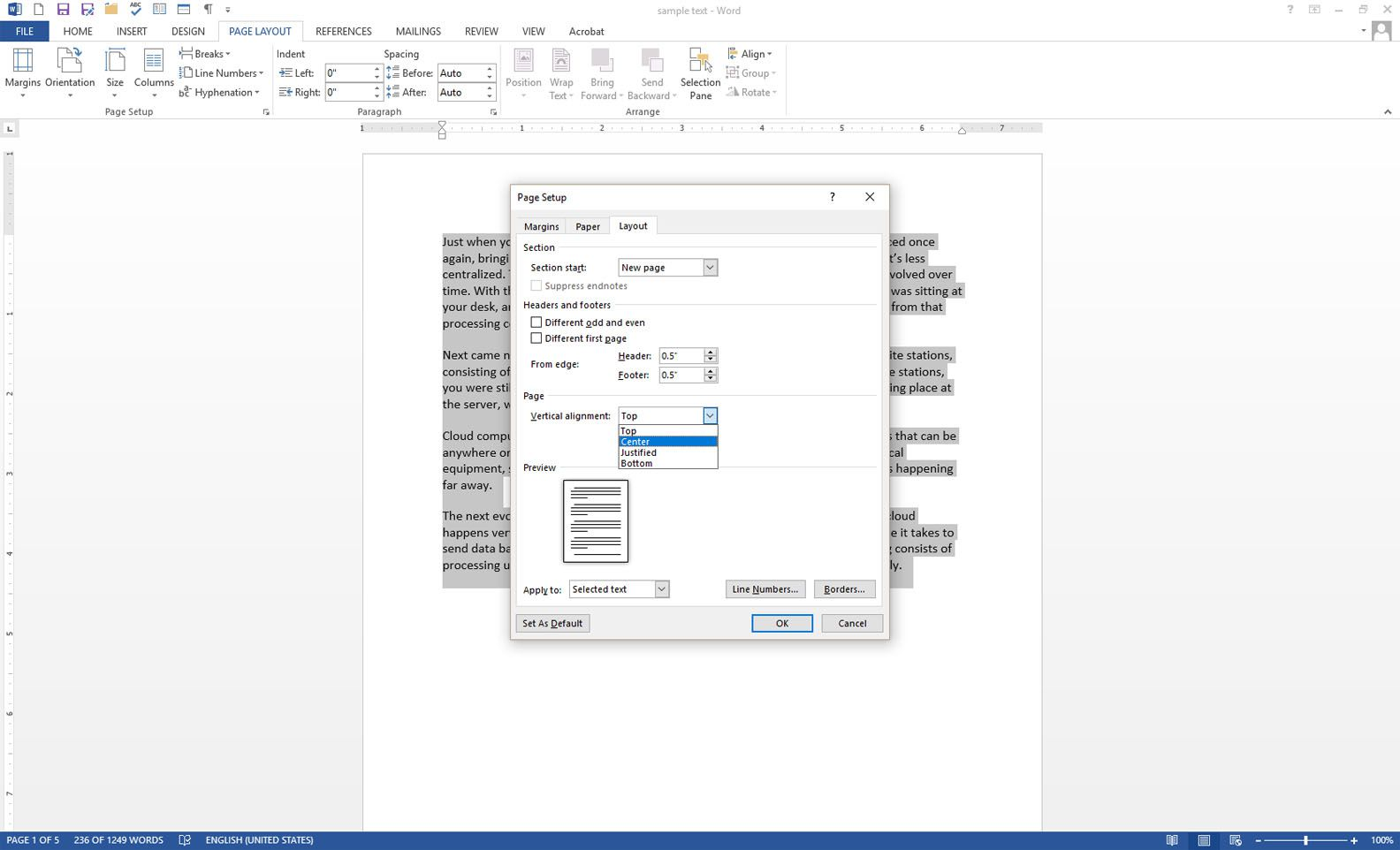 hight resolution of microsoft word with the page setup dialog box displayed