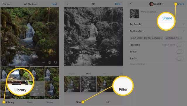 Captures d'écran de partage de photos Instagram et interface de filtre