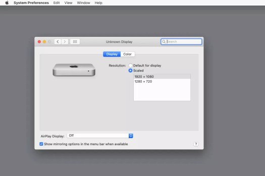 Mac display settings with scaled chosen