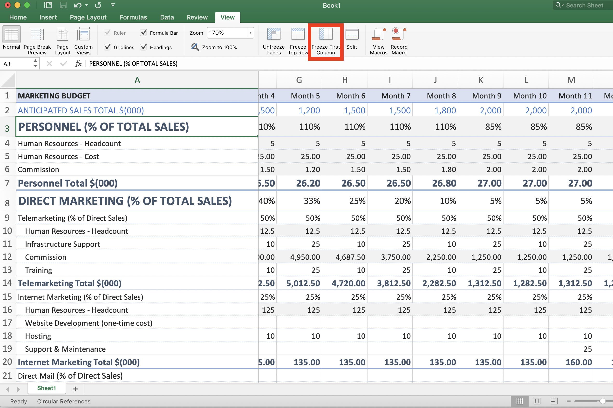 How To Freeze Column And Row Headings In Excel