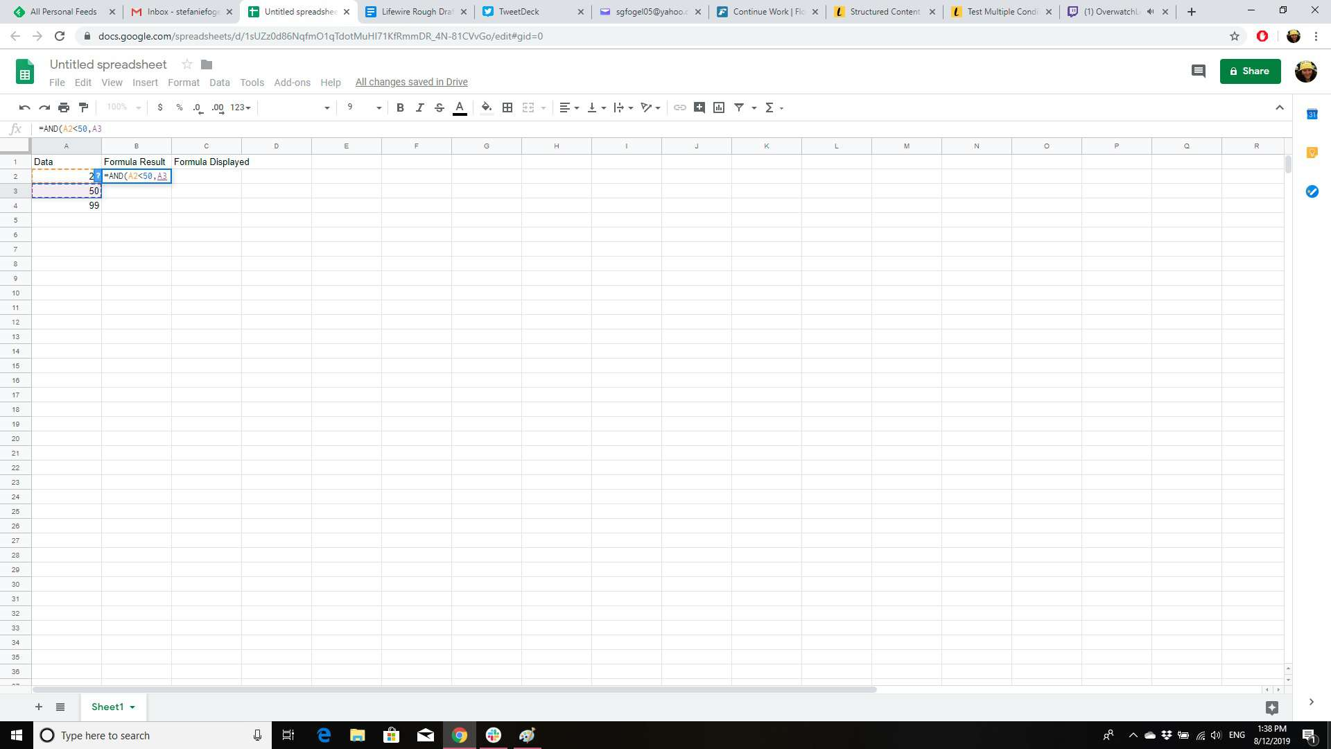 Test Multiple Conditions Using And Or In Sheets