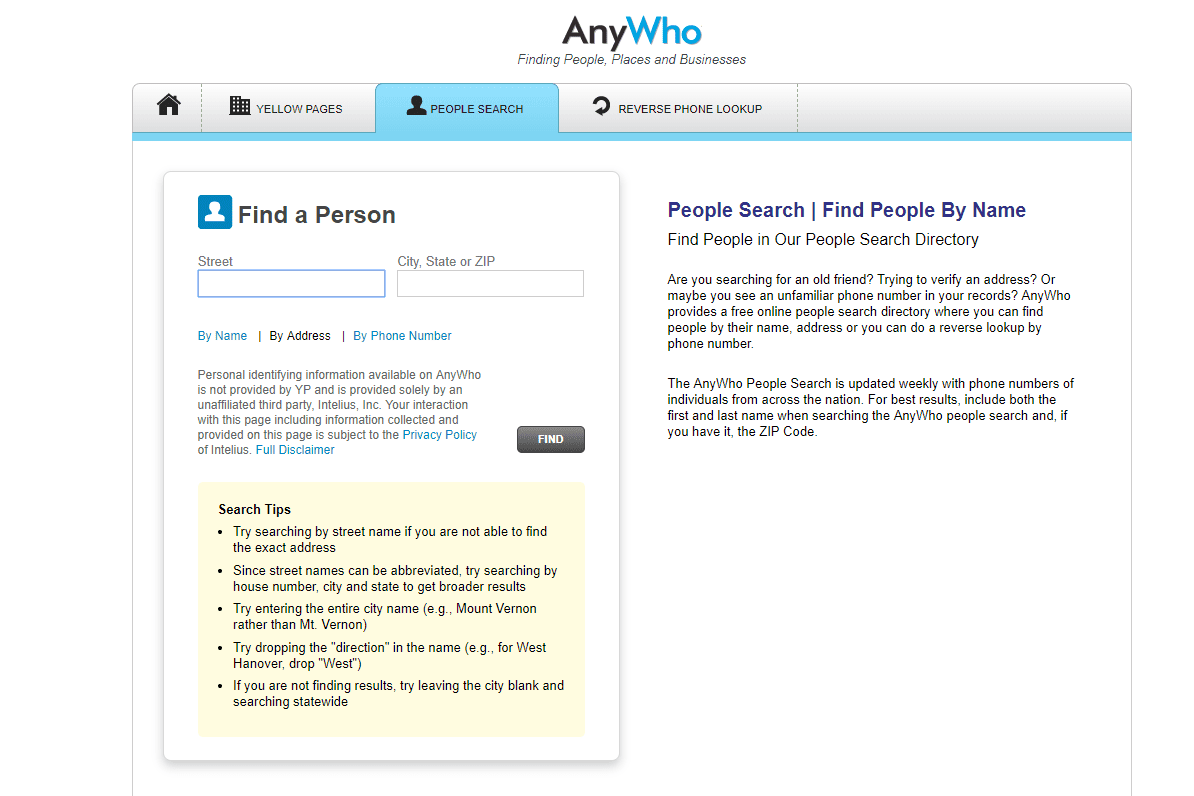free reverse address lookup