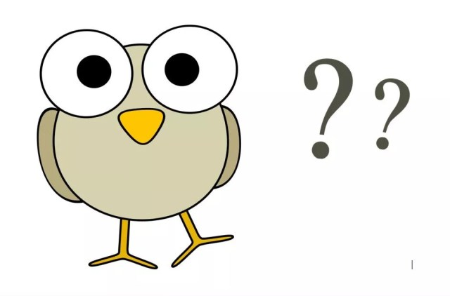 A picture of a chick with two question marks beside it