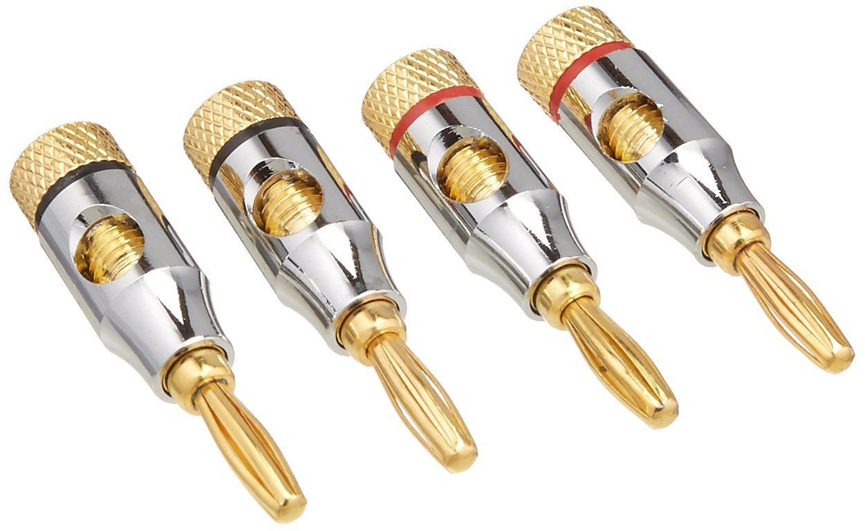 hight resolution of two pairs of metal banana plug speaker wire connectors