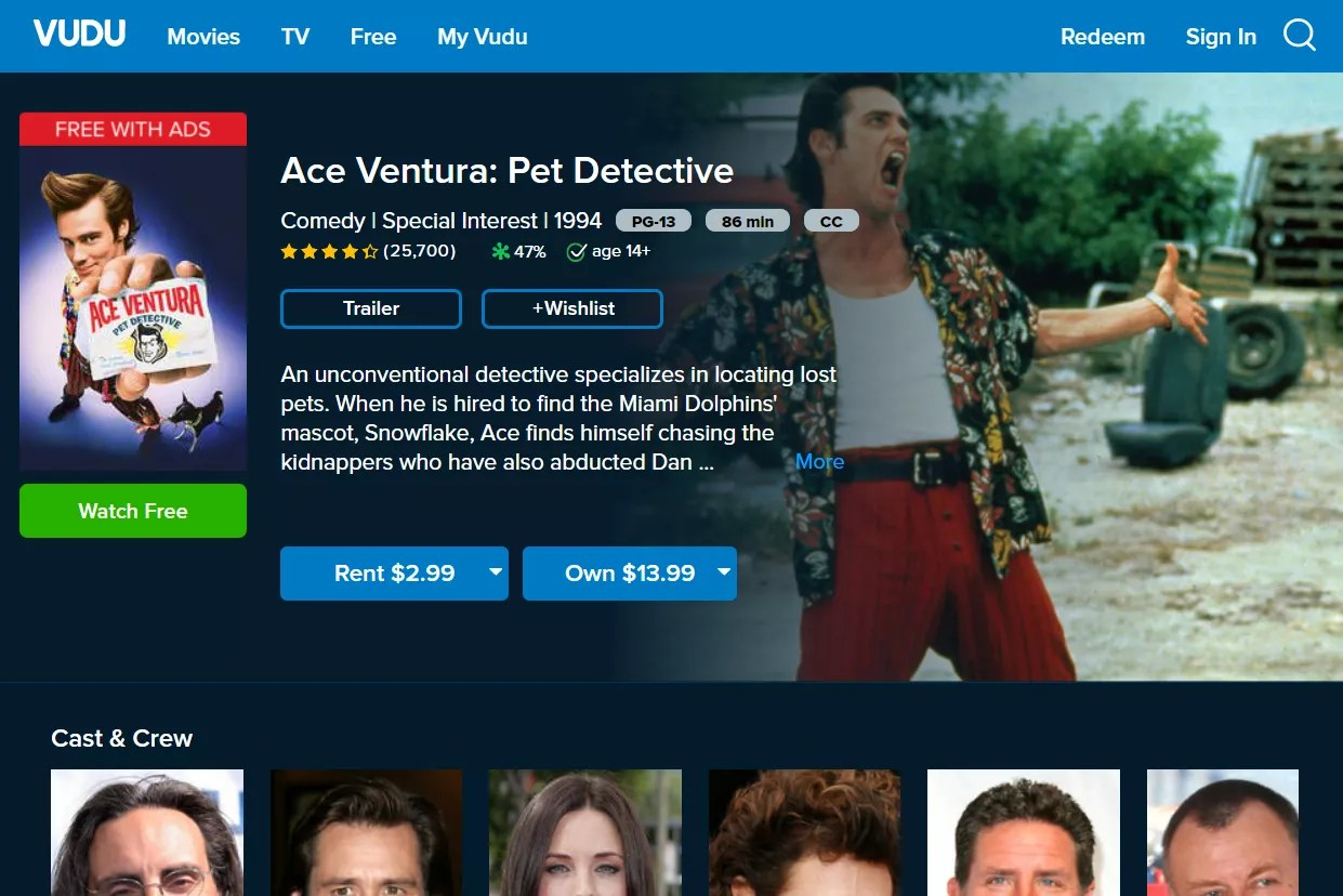 Ace Ventura: Pet Detective free movie on Vudu
