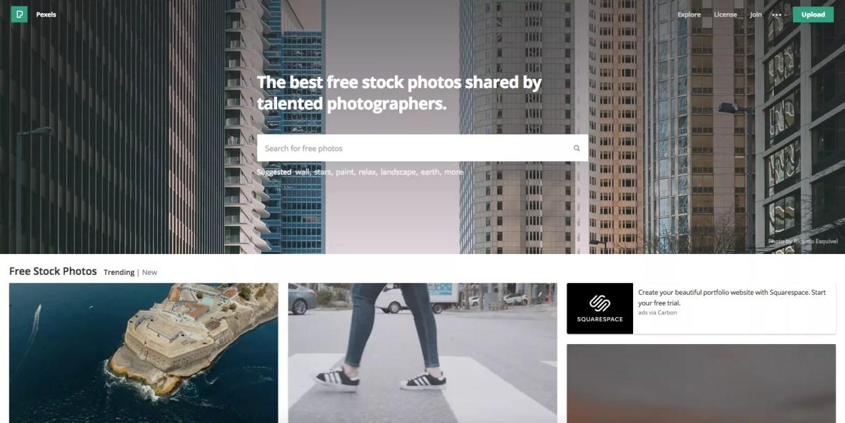لقطة شاشة لموقع Pexels.com.