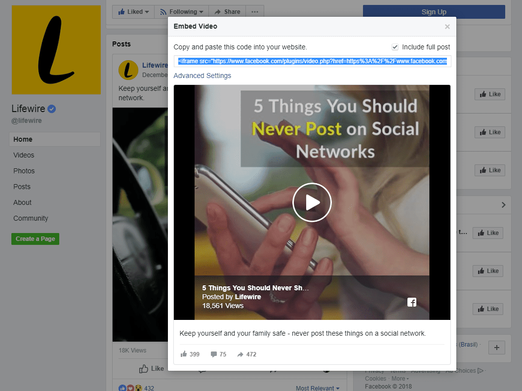 Screenshot Showing How To Copy The Embed Code From A Facebook Post