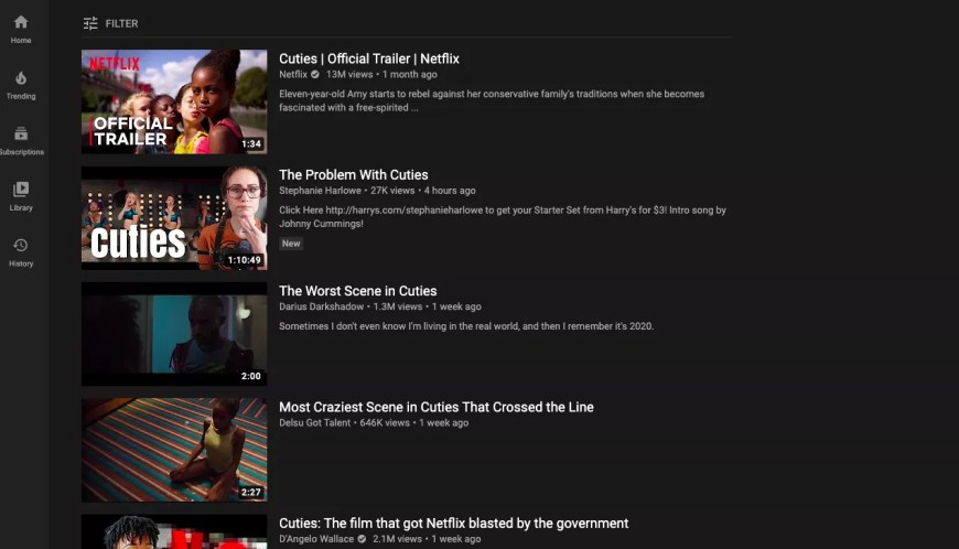 The first page of YouTube search results for the movie Cuties