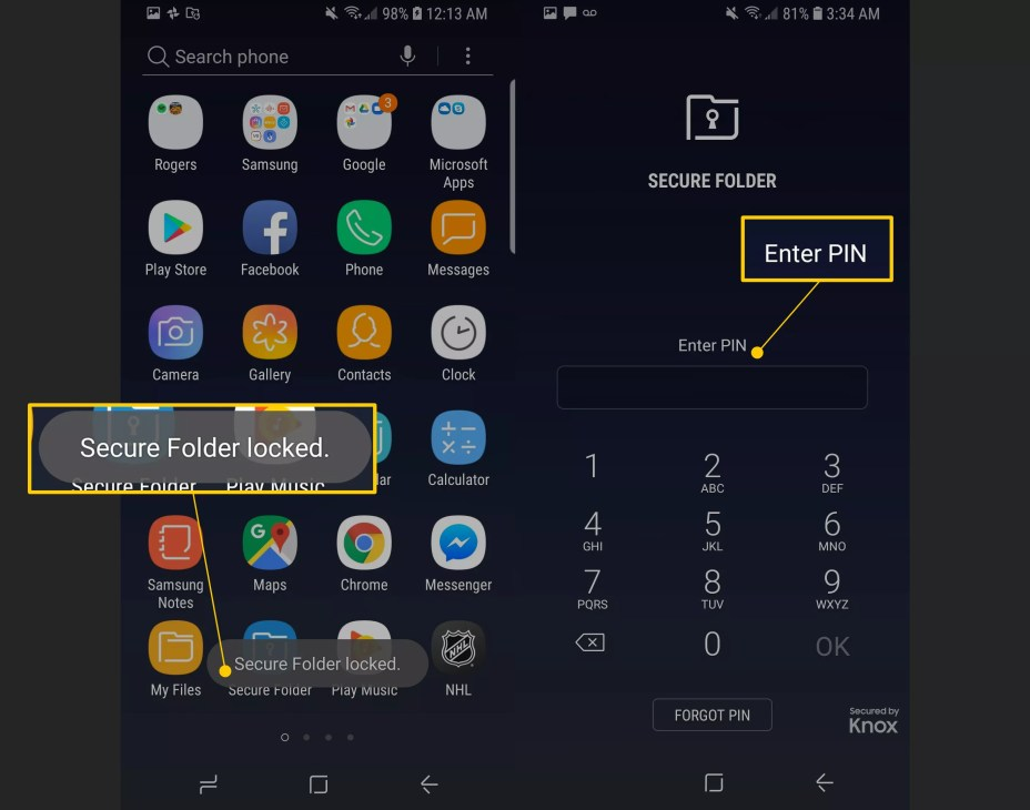 Secure Folder locked message, and Enter PIN field on Android