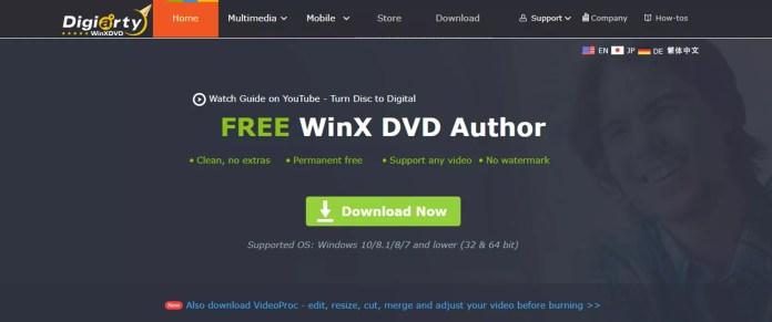 A screenshot of the Digiarty WinXDVD software website.