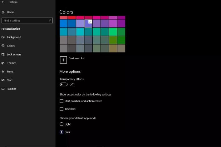 لقطة شاشة لقائمة Colors في Windows 10. تضم هذه القائمة خيار الوضع المظلم.
