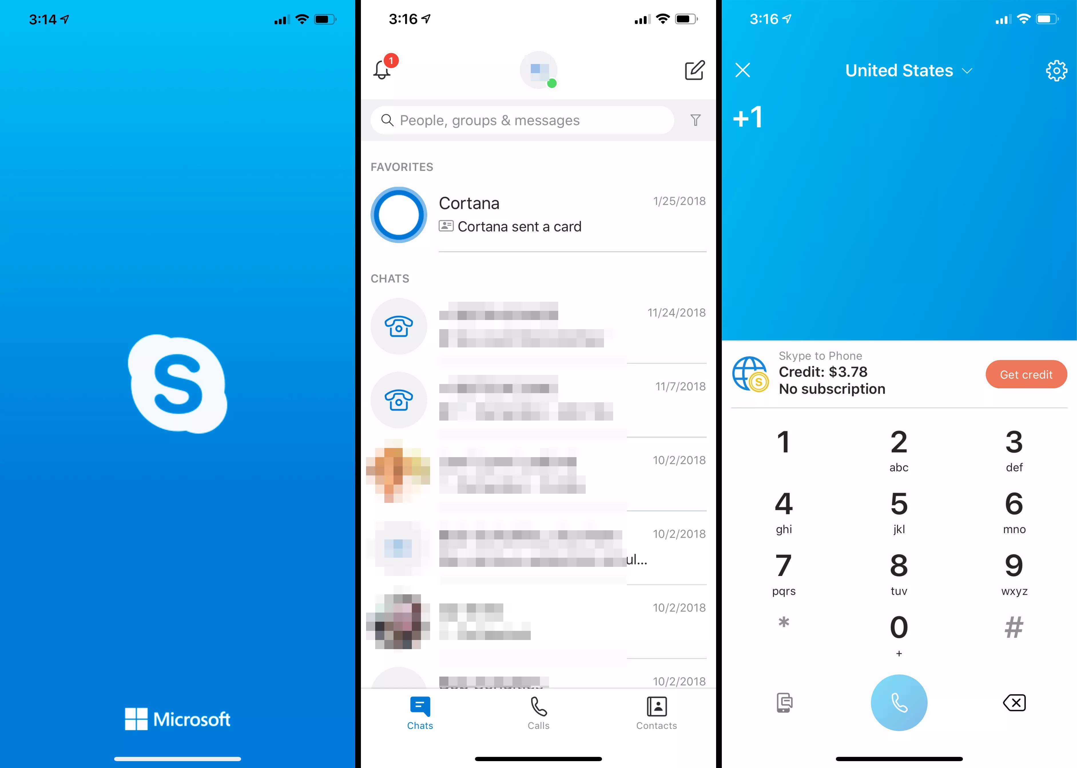 Three iOS screens from Skype app