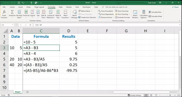 An example of entering cell references in an Excel formula and subtracting numbers.