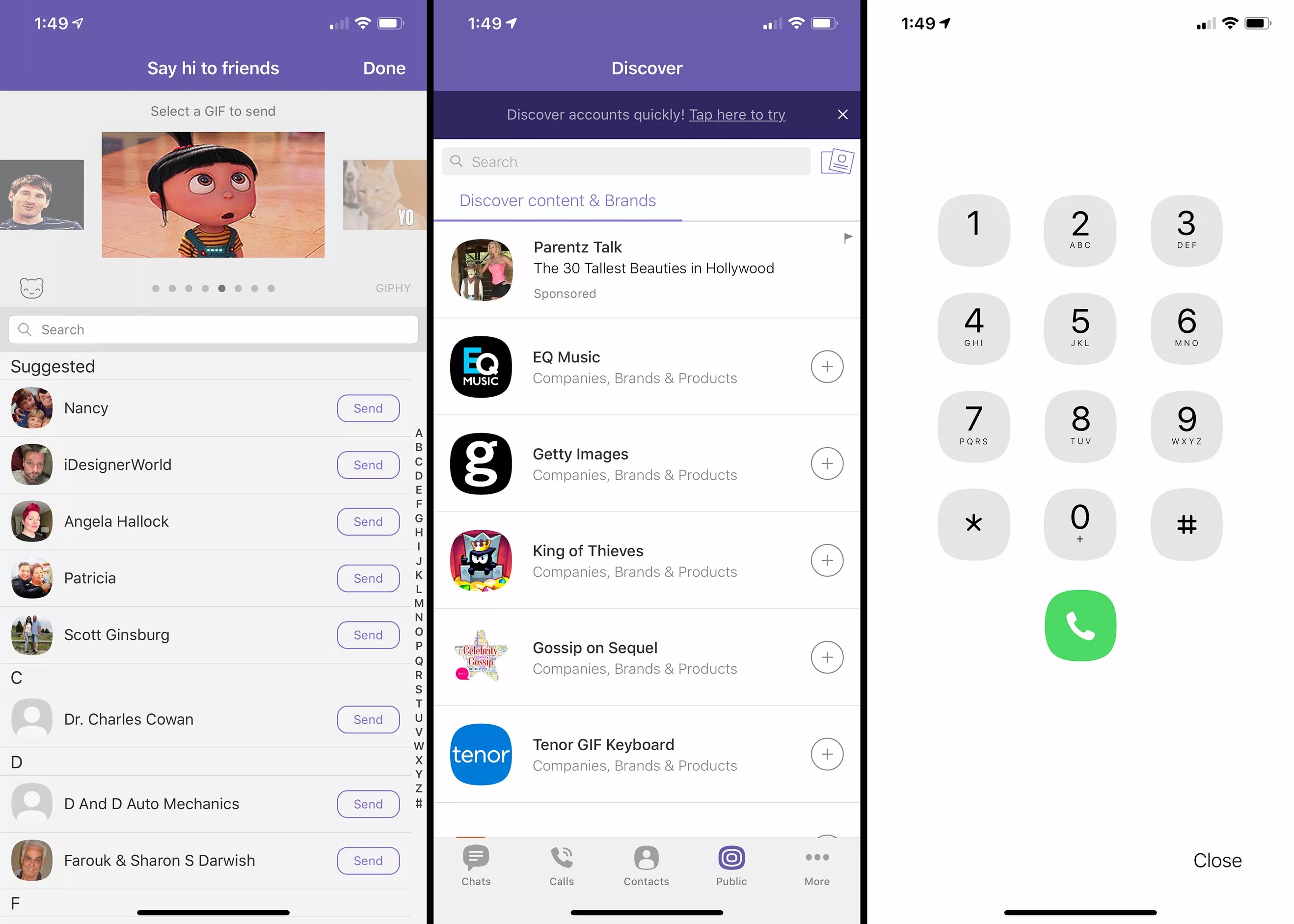 Three iOS screens from Viber app
