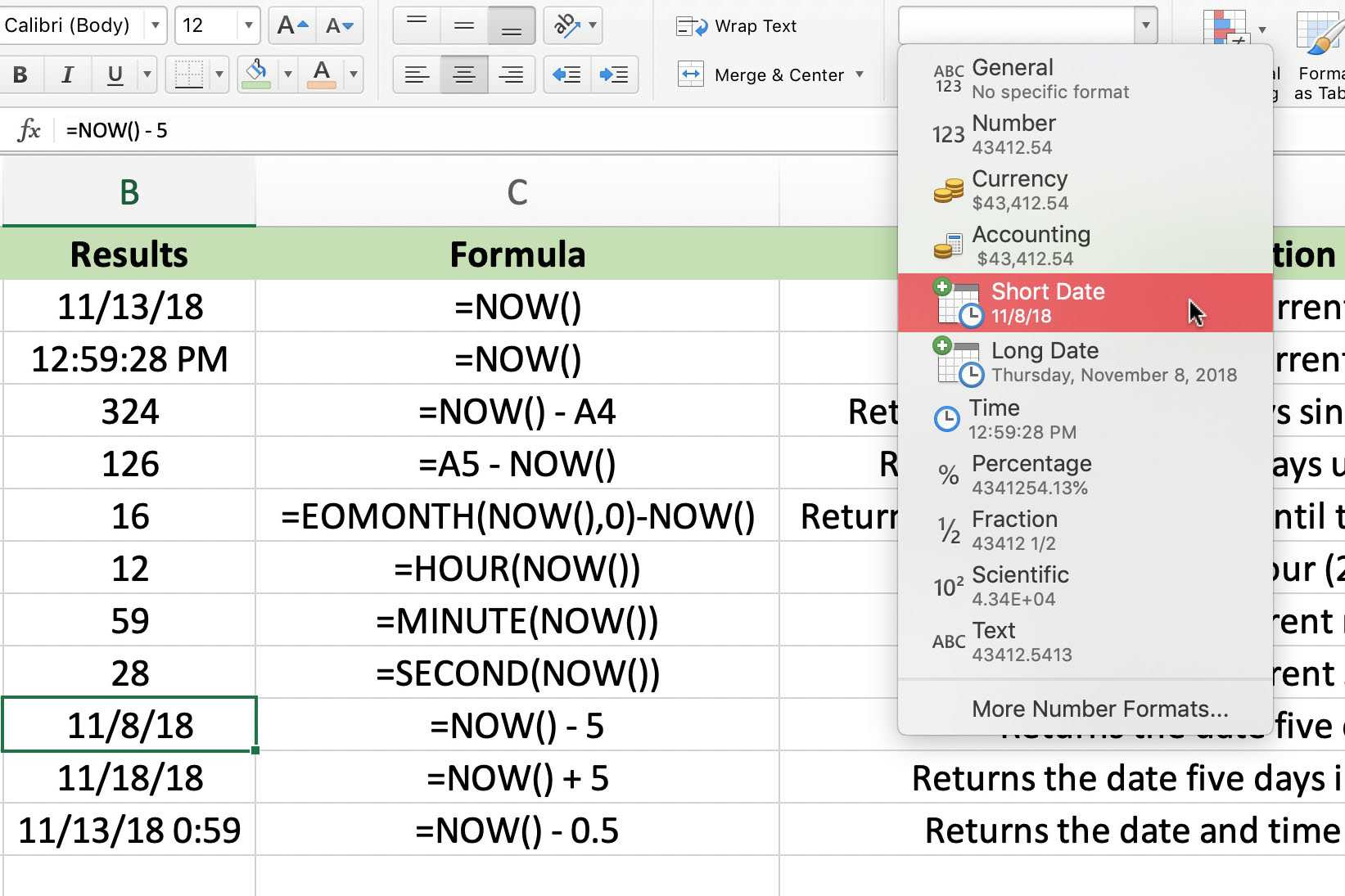 Excel S Volatile Now Function For The Data And Time