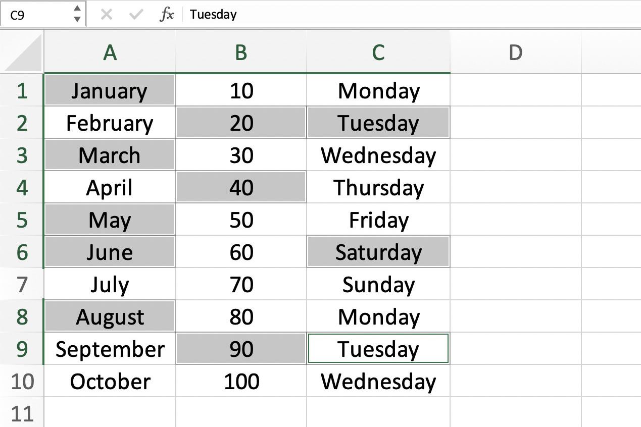 Select Non Adjacent Cells In Excel