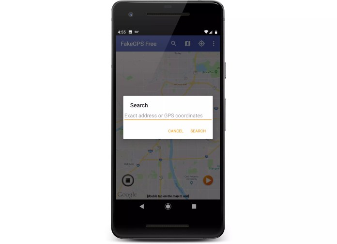 Location search in the FakeGPS app.