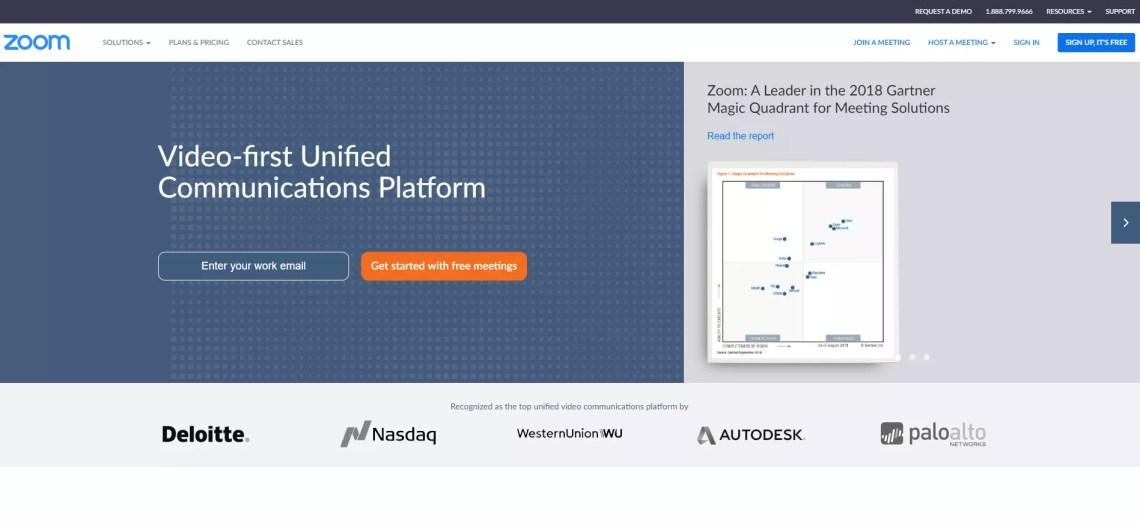Screenshot of the Zoom webpage.