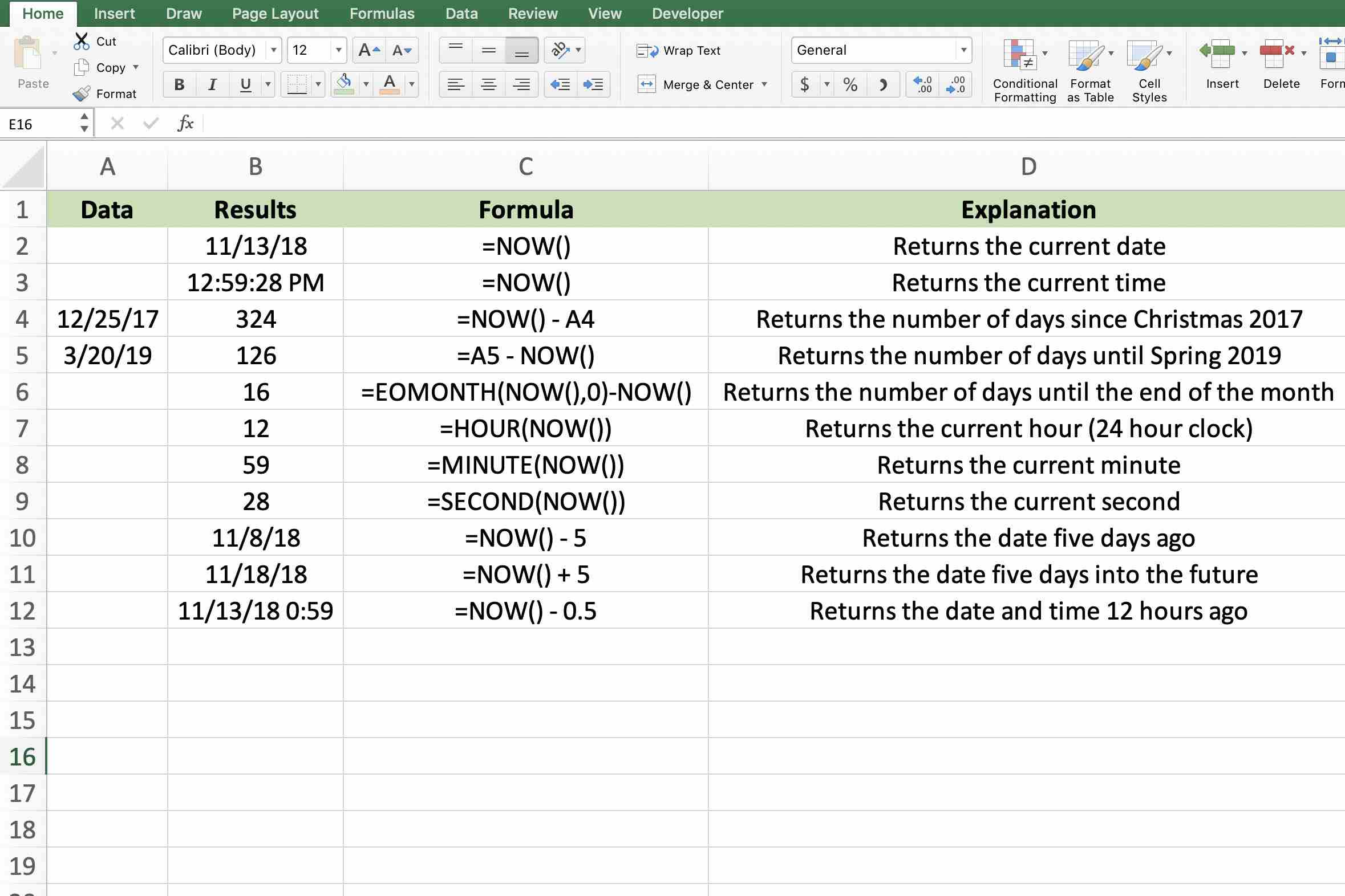 Excel S Volatile Now Function For The Date And Time