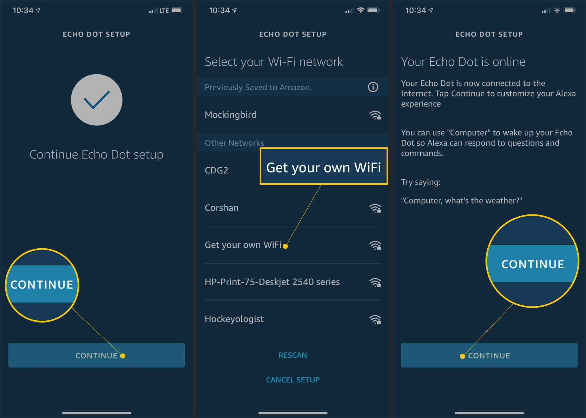 hight resolution of continue wi fi networks and continue button in alexa setup app
