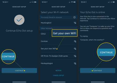 small resolution of continue wi fi networks and continue button in alexa setup app