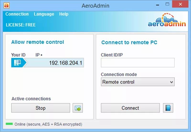 Screenshot of AeroAdmin v4.0 in Windows 8