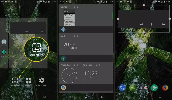 Widgets button on Android
