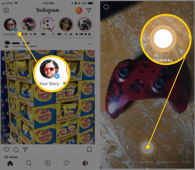 Captures d'écran de l'interface de téléchargement Instagram Story
