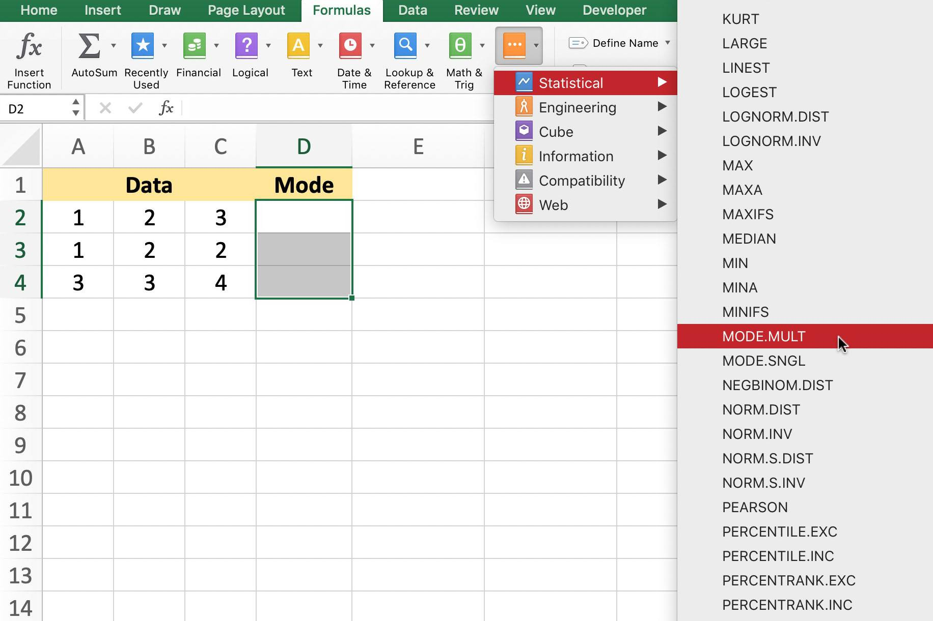 Multiple Modes In Data With Excel Modelt Function