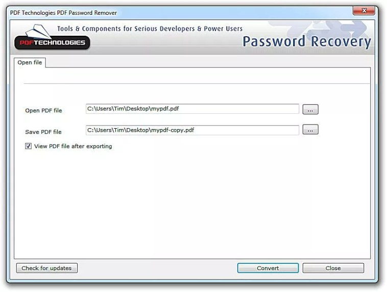 Screenshot of PDF Technologies PDF Password Remover