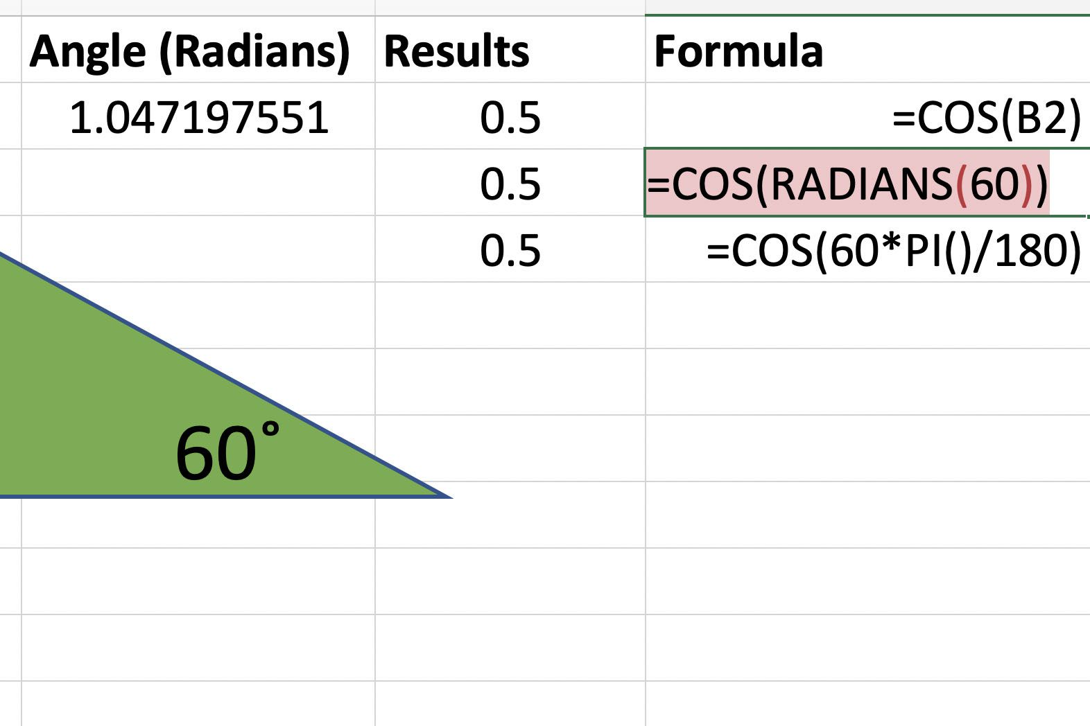 How To Find The Cosine Of An Angle With Excel S Cos Function