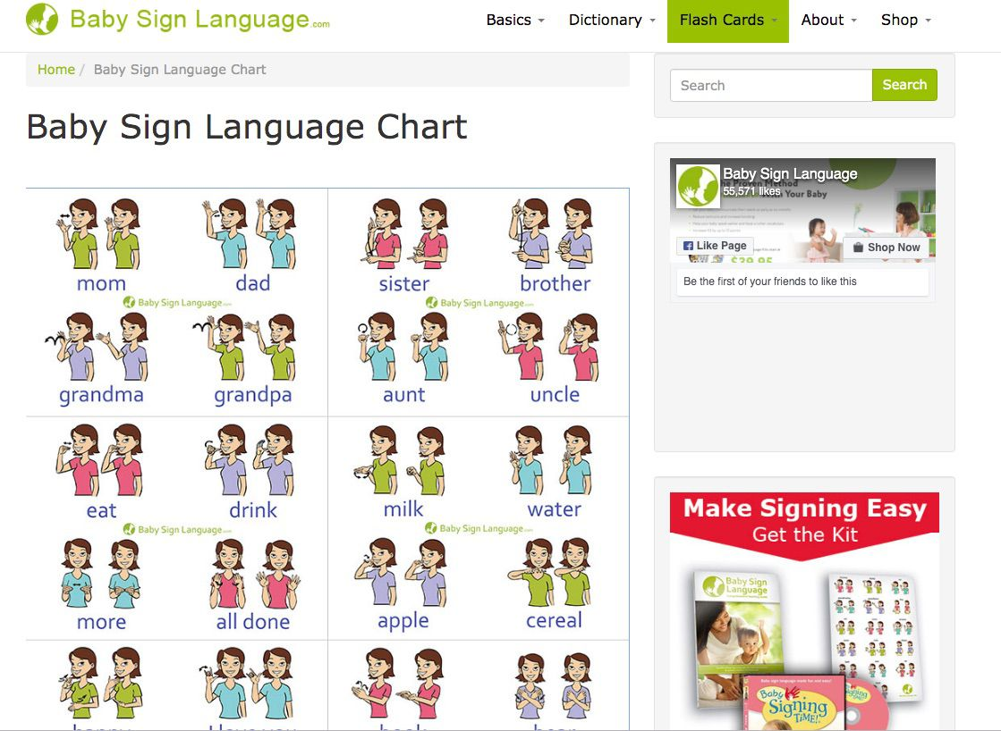 Baby Sign Language Free Resources Charts Flash Cards