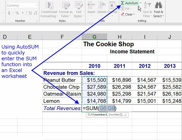 Sum Columns or Rows With Excel's SUM Function